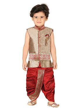 Beige N Red Silk Blend Boys Sherwani