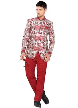 Beige N Red Suit