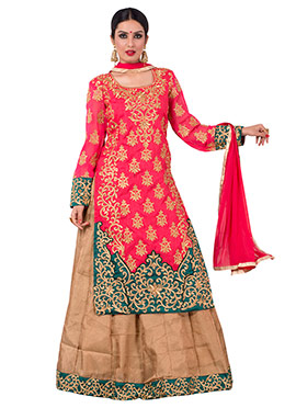 Beige N Reddish Pink Long Choli Lehenga