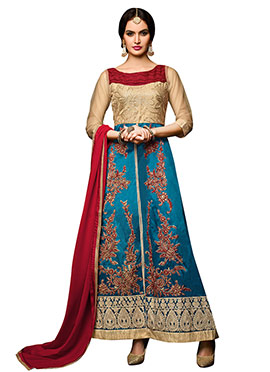 Beige N Turquoise Blue Anarkali Suit