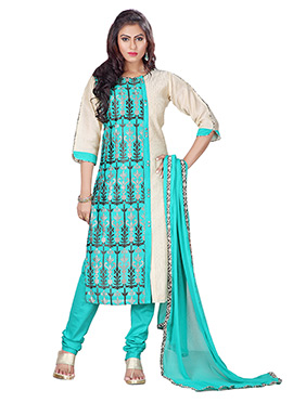 Beige N Turquoise Blue Churidar Suit