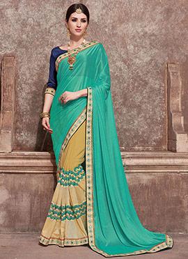 Beige N Turquoise Green Half N Half Saree