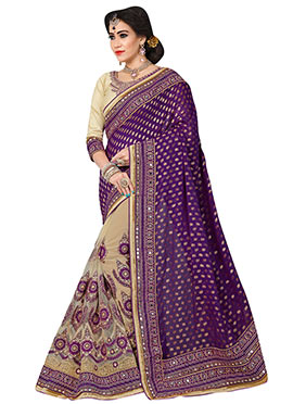 Beige N Violet Embroidered Half N Half Saree