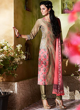 Beige N Watermelon Pink Kora Silk Churidar Suit