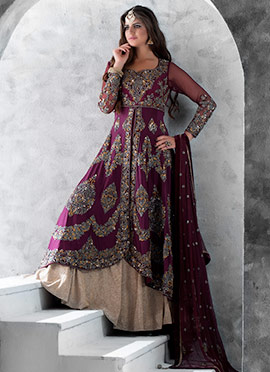 Beige N Purple Long Choli Lehenga