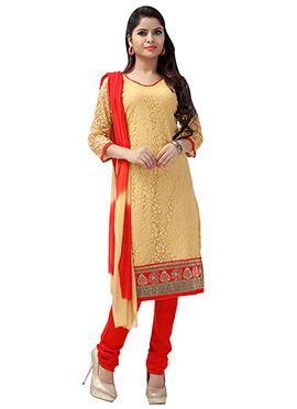 Beige Net Brasso Churidar Suit