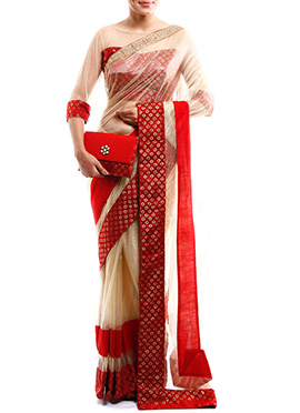 Beige Net Designed Border Saree