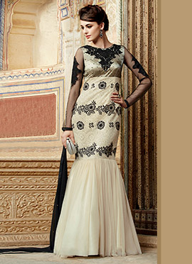 Beige Net Fish Cut Anarkali Suit