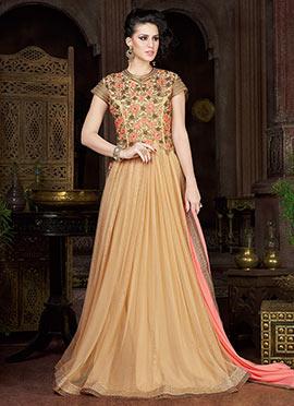 Beige Net Floor Length Anarkali Suit