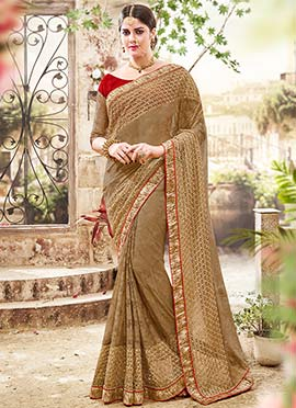 Beige Net Foliage Designed Saree
