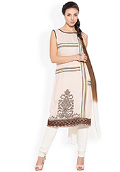 Beige Plus Size Churidar Suit