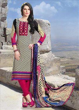 Beige Printed Cotton Churidar Suit