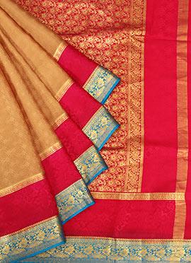 Beige Pure Mysore Silk Jacquard Saree