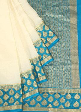 White Pure Mysore Silk Saree