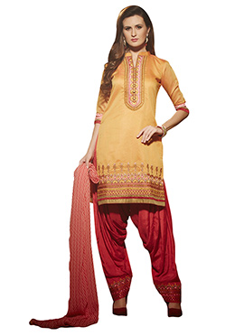 Beige Resham Embroidered Patiala Suit