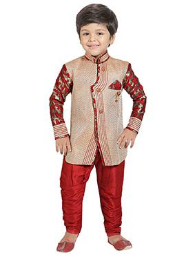 Beige Silk Blend Boys Indowestern Sherwani