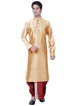 Beige Silk Blend Dhoti Style Kurta Pyjama