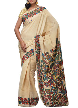 Beige Uppada Silk Cotton Saree