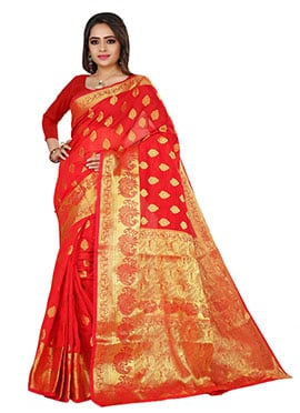 Benarasi Silk Red Saree