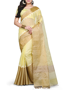 Bengal Handloom Jamdani Light Yellow Saree