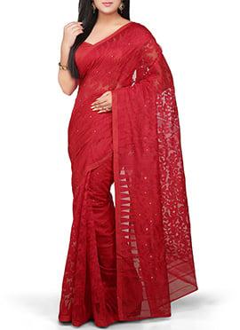 Bengal Handloom Red Silk Cotton Jamdani Saree