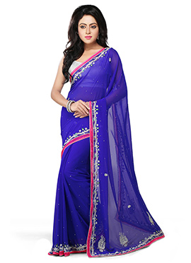Berry Blue Georgette Stones Saree