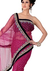 Bewitching Look Crystals Enhanced Net Saree