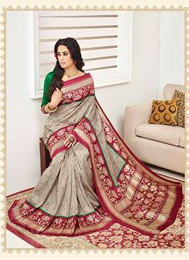 Bhagalpuri Silk Beige Saree