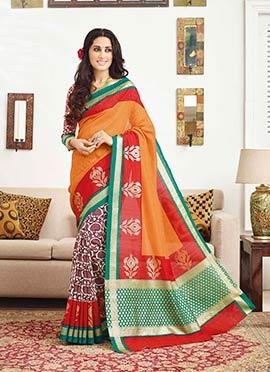 Bhagalpuri Silk Half N Half Saree