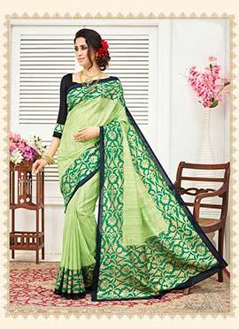 Bhagalpuri Silk Mint Green Saree