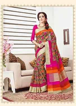 Bhagalpuri Silk Pink N Brown Saree
