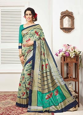 Bhagalpuri Silk Sage Green Saree