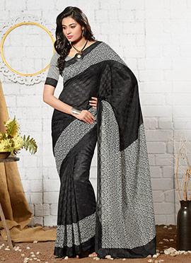 Black Art Silk Jacquard N Printed Saree