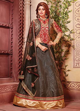 Black Art Silk Lehenga Choli