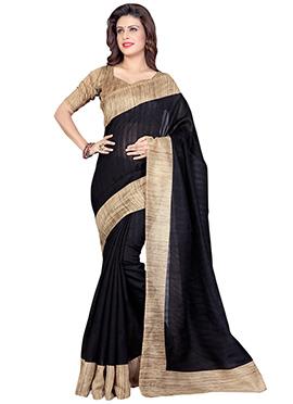 Black Art Silk Textured Border Saree