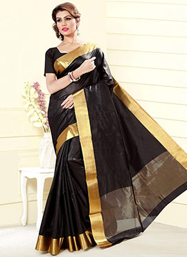 Black Blended Cotton Silk Saree