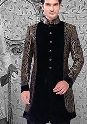 Black Brocade Breeches Style Sherwani