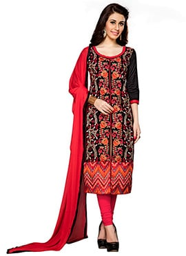 Black Cambric Cotton Embroidered Straight Suit