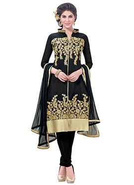 Black Chanderi Cotton Chudidar Suit