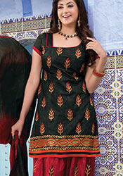 Black Chanderi Cotton Patiala Suit