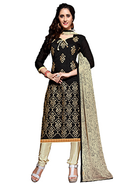 Black Chanderi Silk Churidhar Suit