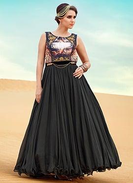 Black Chiffon Floor Length Anarkali Suit