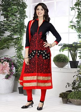 Black Cotton Embroidered Straight Suit