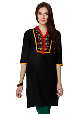 Black Cotton Ethnic Kurti from Home India