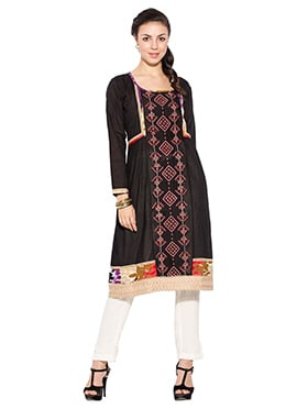 Black Cotton Foliage Designed Kurti