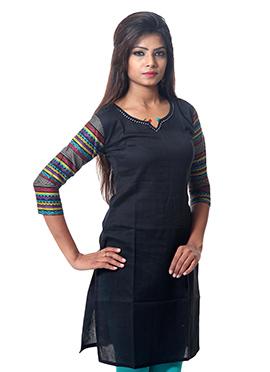 Black Cotton Short Kurti