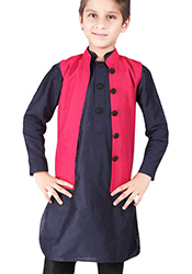 Blue Cotton Silk Kids Kurta Pyjama