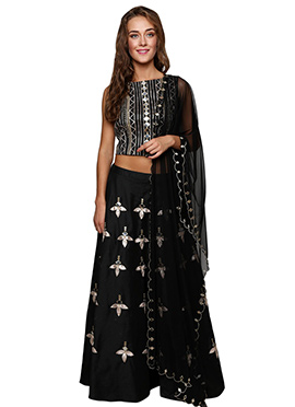 Black Cotton Silk Lehenga Choli