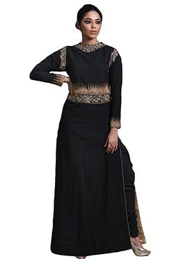 Black Debarun Khadi Cotton Straight Pant Set