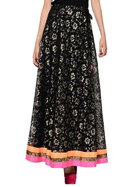 Black Dupion Skirt